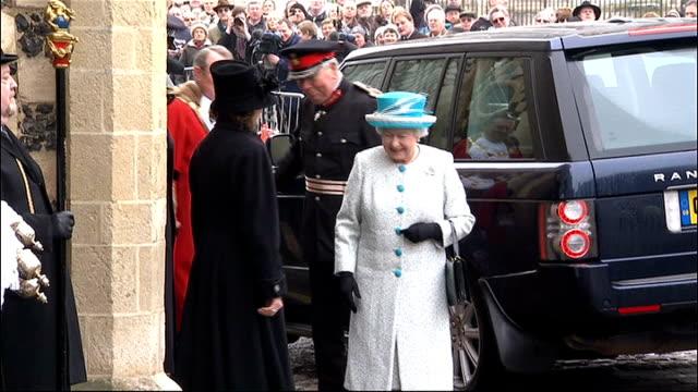 queen elizabeth's diamond jubilee concert lineup announced lib norfolk kings lynn ext queen elizabeth ii along with mayor of kings lynn as leaving... - queen elizabeth hall stock videos and b-roll footage