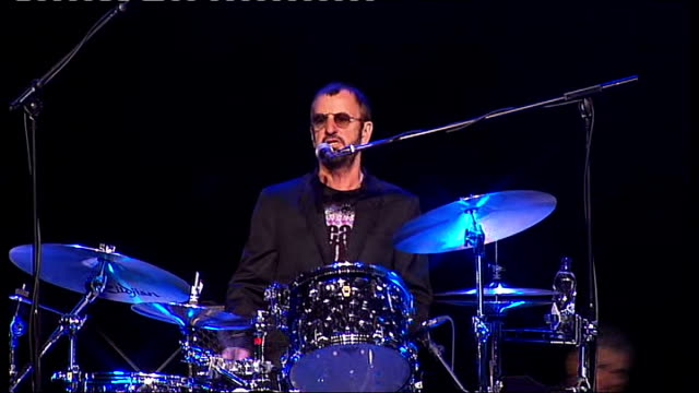 ringo starr announces european tour england surrey dunsfold park int various shots of ringo starr playing drums and singing with his band 'ringo... - ringo starr stock videos and b-roll footage