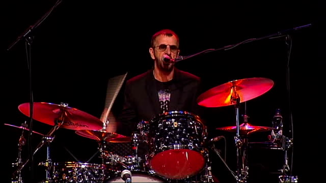 ringo starr announces european tour england surrey int various shots of ringo starr playing drums and singing with his band 'ringo starr and his all... - ringo starr stock videos and b-roll footage