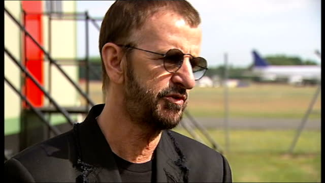 ringo starr announces european tour; ext ringo starr interview sot - have great job, love to play - ringo starr stock videos & royalty-free footage