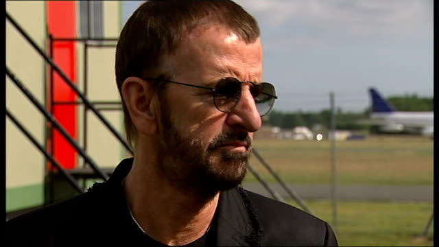 ringo starr announces european tour; ext ringo starr interview sot - not up to him whether he receives knighthood - ポピュラーミュージックツアー点の映像素材/bロール