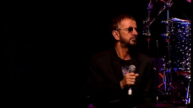 ringo starr announces european tour int various shots of ringo starr performing with his band 'ringo starr and his all starr band' at promotional... - ringo starr stock videos and b-roll footage