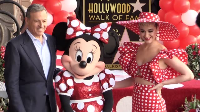 pop star katy perry has presented minnie mouse with a star on the hollywood walk of fame hollywood makebelieve was in full force when the disney... - walk of fame stock videos & royalty-free footage