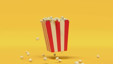 popcorn box red yellow cartoon style minimal 3d rendering cinema theater concept - still life stock videos & royalty-free footage