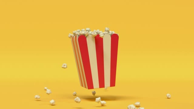 popcorn box red yellow cartoon style minimal 3d rendering cinema theater concept - still life stock videos & royalty-free footage