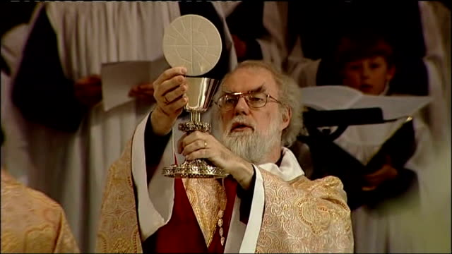 pope annouces anglican bishops can convert to catholic church; file: int dr rowan williams conducting church service - anglican stock videos & royalty-free footage