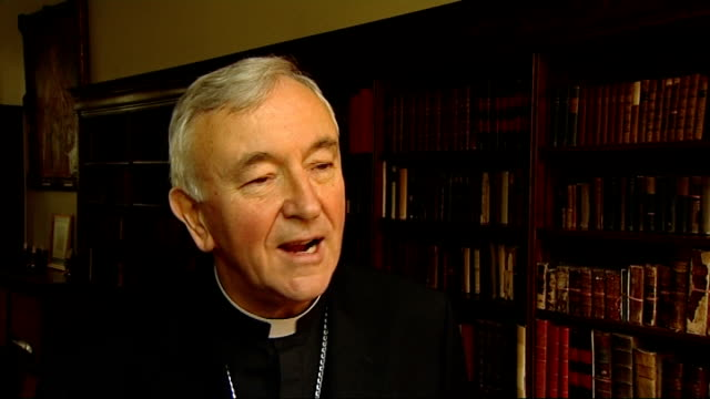 pope appoints successor to cardinal cormac murphy o'connor london nichols and reporter most reverend vincent nichols interview sot every football... - nachfolger stock-videos und b-roll-filmmaterial