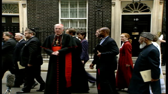 pope benedict apologises over his comments about the prophet mohammed; england: london: westminster: downing street: ext cardinal cormac... - cormac murphy o'connor stock videos & royalty-free footage