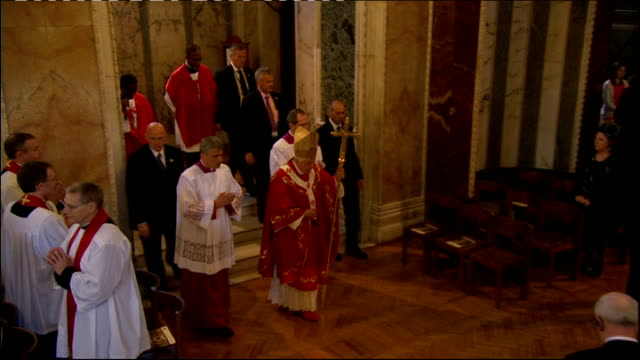 pope benedict xvi announces resignation; lib england: london: westminster cathedral: int the pope atttending mass at westminster cathedral - westminster cathedral stock videos & royalty-free footage