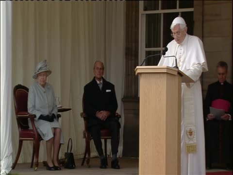 pope benedict xvi gives speech before queen elizabeth ii at palace of holyroodhouse her official residence in scotland - pope stock videos & royalty-free footage