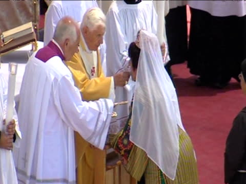 Pope Benedict XVI leads mass ceremony offering holy communion during tour of Middle East Bethlehem Palestine 13 May 2009