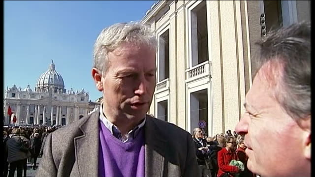 pope benedict xvi makes final public appearance pope benedict seen in distance reporter to camera people along from st peter's square and st peter's... - media interview stock videos and b-roll footage
