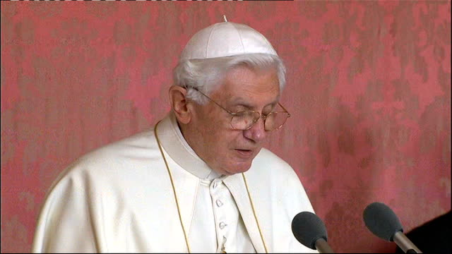 pope benedict xvi state visit: day 2: speech to religious leaders; pope benedict xvi speech sot - the quest for the sacred does not devalue other... - out of context stock videos & royalty-free footage