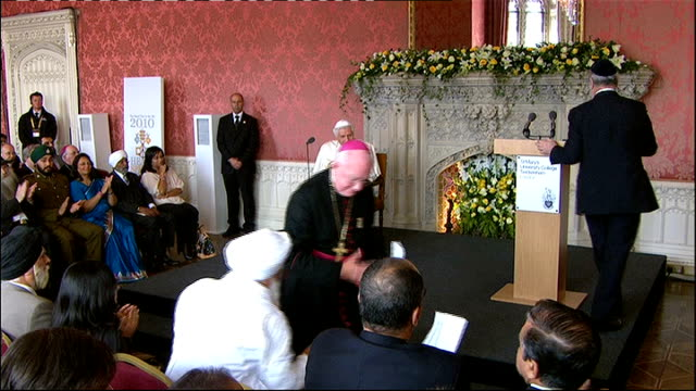 Day 2 Speech to religious leaders ENGLAND London Twickenham St Mary's University College Waldegrave room INT Pope Benedict XVI into room and along to...
