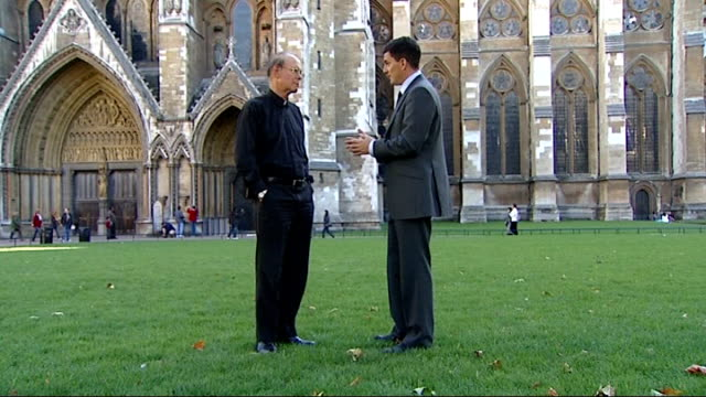 day one england london westminster abbey pan to reporter and reverend canon dr paul avis reverend canon dr paul avis interview sot - pope stock videos and b-roll footage