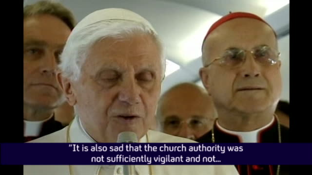 day one italy rome pope benedict xvi speech sot it is also sad that the church authority was not sufficiently vigilant and not sufficiently quick and... - 法王ベネディクト16世点の映像素材/bロール