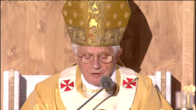 """day one mass at bellahouston park pope benedict xvi homily sot the kingdom of god is very near to you"""" with these words of the gospel we have just... - romans stock videos and b-roll footage"""