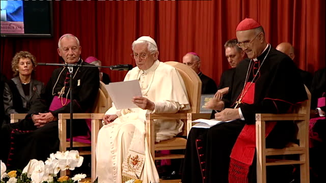 day three st peter's residence female resident of st peter's residence makes welcome speech from stage sot pope benedict reads statement from stage... - blessing stock videos & royalty-free footage