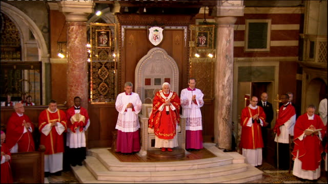 pope benedict xvi state visit: day three: westminster cathedral mass; pope taking mass continued including archbishop vincent nichols greeting, gift... - westminster cathedral stock videos & royalty-free footage