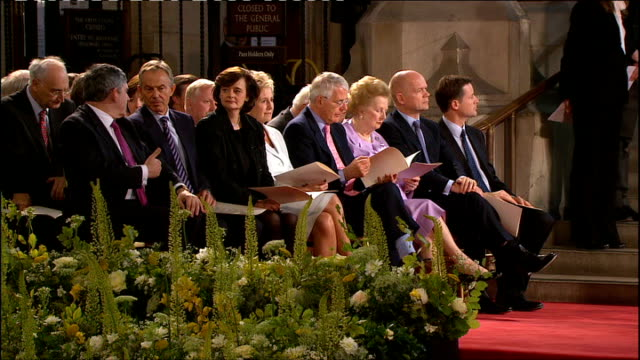 pope benedict xvi state visit: day two: address to civil society, westminster hall, palace of westminster; margaret thatcher and william hague seated... - cormac murphy o'connor stock videos & royalty-free footage