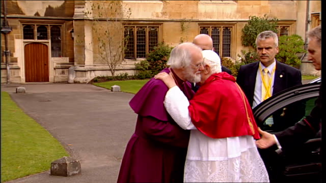 day two england london lambeth palace ext pope benedict xvi from car to embrace archbishop of canterbury dr rowan williams - lambeth stock-videos und b-roll-filmmaterial