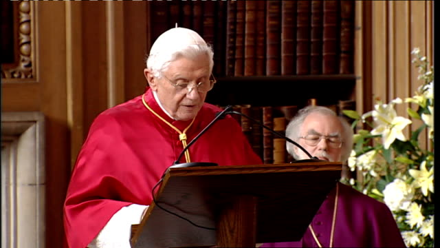 day two lambeth palace pope benedict xvi speech sot your grace it is a pleasure for me to be able to return the courtesy of the visits you have made... - lambeth stock-videos und b-roll-filmmaterial