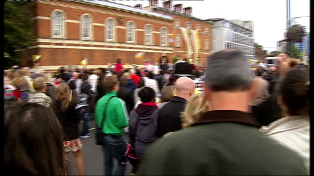 final day pope benedict xvi along past crowd in popemobile pope benedict xvi out of popemobile towards crowd crowd along in street man preaching sot... - pope stock videos and b-roll footage