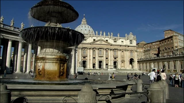 cardinal cancels trips following controversial third world comments general view st peter's square close shot water spraying from fountain with... - st peter's square stock videos & royalty-free footage