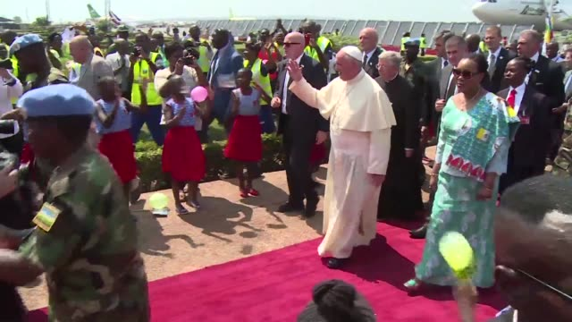 Pope Francis arrived as a pilgrim of peain conflict ridden Central African Republic on Sunday flying in from Uganda on what will be the most...