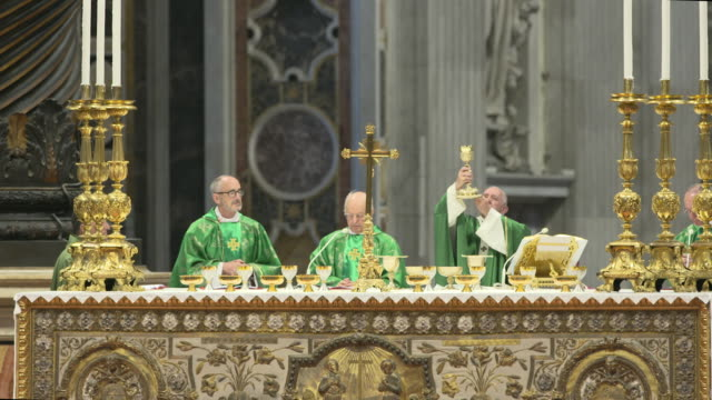 clean pope francis at holy mass for the opening of the synod of bishops for the amazon on october 6 2019 in vatican city vatican - spiritualität stock-videos und b-roll-filmmaterial