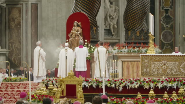 pope francis at pope francis celebrates christmas night mass on december 24, 2017 in vatican city, vatican. - pope stock videos & royalty-free footage
