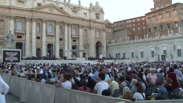 pope francis called for reconciliation in syria on saturday as he led a mass peace vigil on st peter's square and millions of catholics worldwide... - religious mass stock videos & royalty-free footage