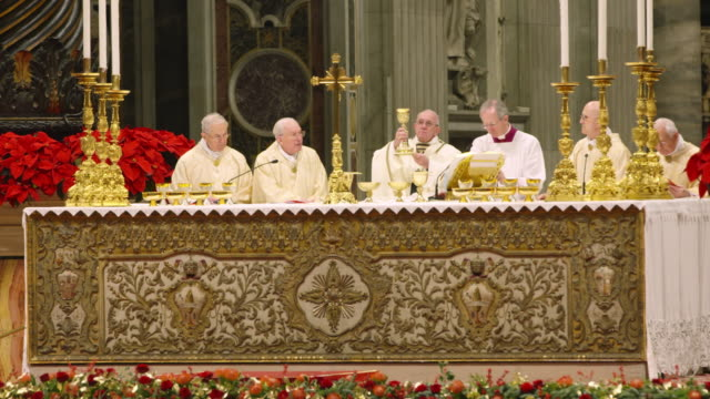 pope francis celebrates christmas night mass on december 24, 2018 in vatican city, vatican. - pope stock videos & royalty-free footage