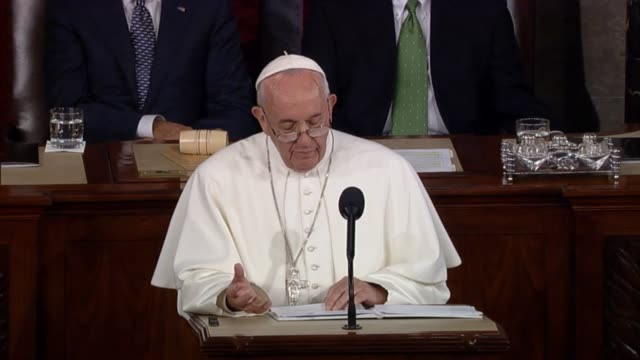 pope francis cites recent encyclical in discussion of what he calls environmental challenge with human roots. shot of the supreme court justices... - 2015 stock videos & royalty-free footage