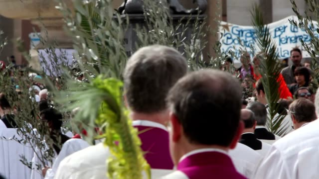 broll pope francis conducts the palm sunday celebrations in st peter's square at st peter's square on march 24 2013 in vatican city vatican - sonntag stock-videos und b-roll-filmmaterial