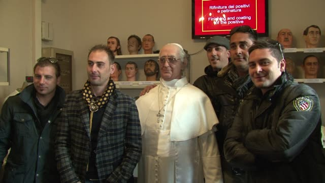 pope francis has become the latest figure in rome's wax museum with a statue depicting the pontiff smiling in the iconic moment when he appeared on... - wax stock videos & royalty-free footage