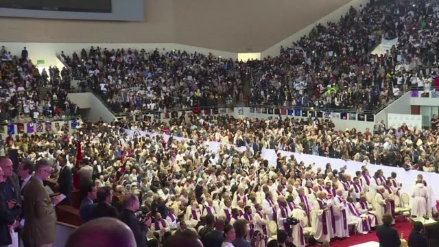 pope francis holds a mass for thousands of catholics in morocco during a rare visit by a pontiff to the north african country - religious mass stock videos & royalty-free footage