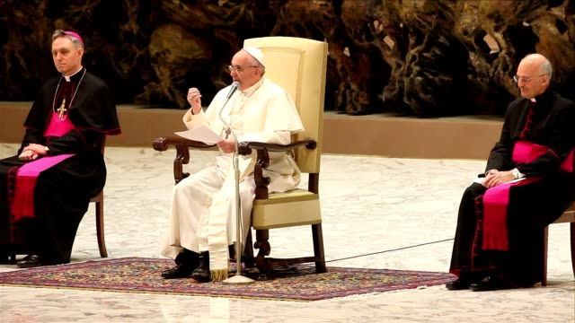 clean pope francis holds an audience with journalists and the media at hall paul vi on march 16 2013 in vatican city vatican - pope stock videos & royalty-free footage