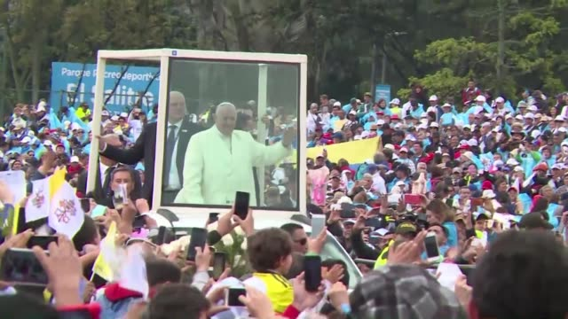 pope francis holds an open air mass for hundreds of thousands of worshippers in colombia urging forgiveness as they seek a lasting end to half a... - forgiveness stock videos and b-roll footage