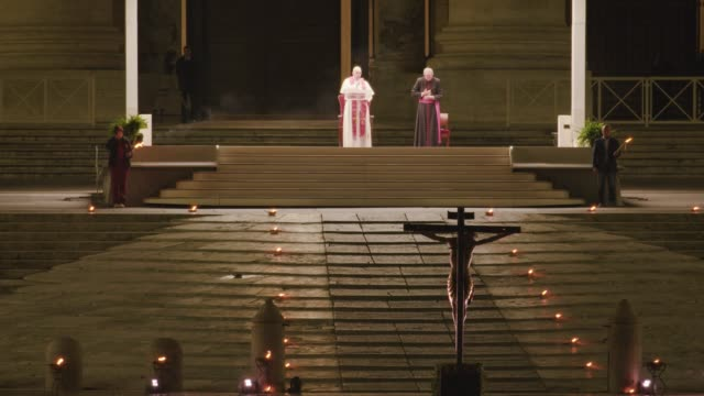 pope francis leads the stations of the cross on april 10, 2020 in vatican city, vatican. - pope stock videos & royalty-free footage