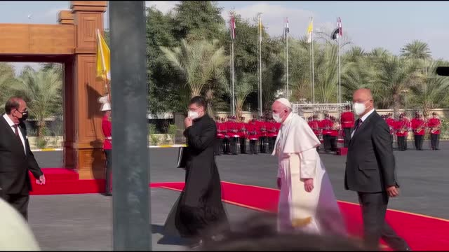 pope francis met iraqi president barham salih at an official ceremony in the green zone in baghdad on friday as part of his first-ever visit to the... - nasiriyah stock videos & royalty-free footage