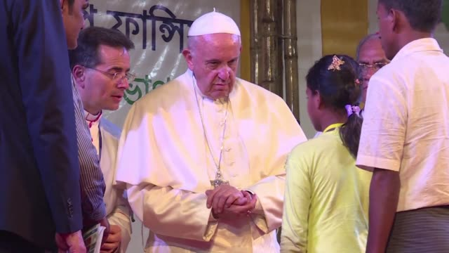 pope francis met on friday in dhaka with a small group of rohingya refugees who fled myanmar for bangladesh - diplomacy stock videos and b-roll footage