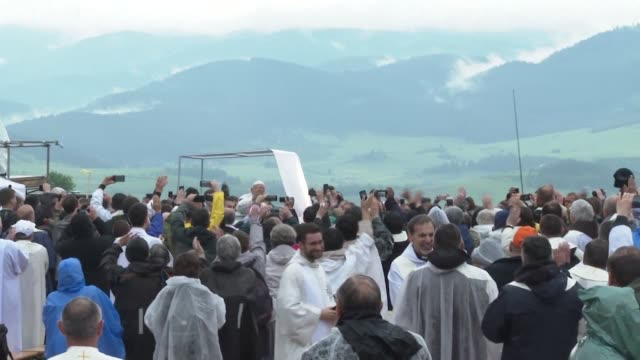 pope francis on the second day of a visit to romania celebrates diversity at a mass attended by tens of thousands of people in a predominantly ethnic... - transylvania stock videos & royalty-free footage