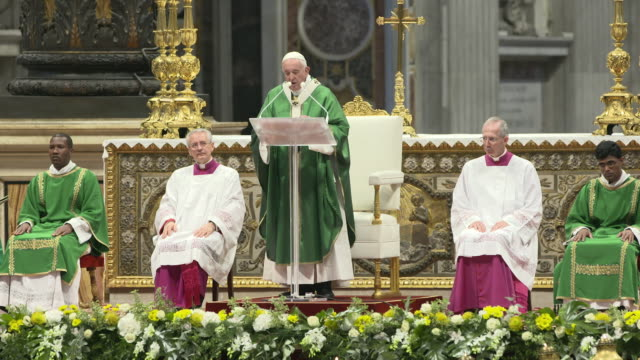 interview pope francis on the synod for the amazon at holy mass for the opening of the synod of bishops for the amazon on october 6 2019 in vatican... - ヴァチカン市国点の映像素材/bロール