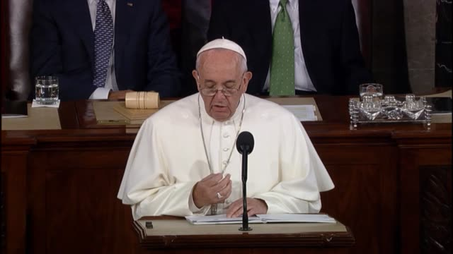 pope francis tells a joint meeting of congress that past transgressions cannot be viewed under present standards with respect to foreigners, natives. - respect stock videos & royalty-free footage