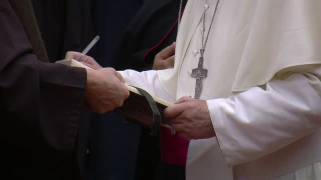 clean pope francis visits san damiano in assisi on october 04 2013 in assisi italy - assisi stock videos and b-roll footage