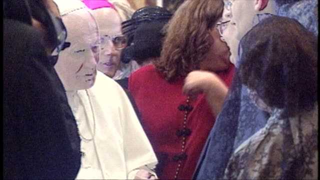wgn pope john paul ii along with chicago archbishop francis george shook the hand of chicagoans who came with francis george for his pallium ceremony... - cardinal clergy stock videos and b-roll footage