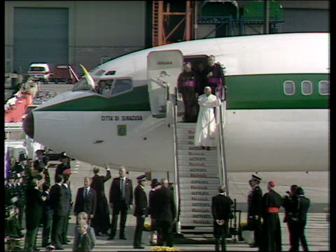 pope john paul ii comes down aircraft steps and kisses ground; 28 may 82 - pope john paul ii stock videos & royalty-free footage