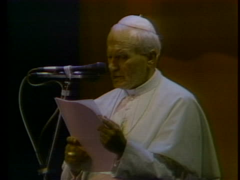 pope john paul ii defends the catholic church's ban on surrogate motherhood and artificial insemination. - pope john paul ii stock videos & royalty-free footage