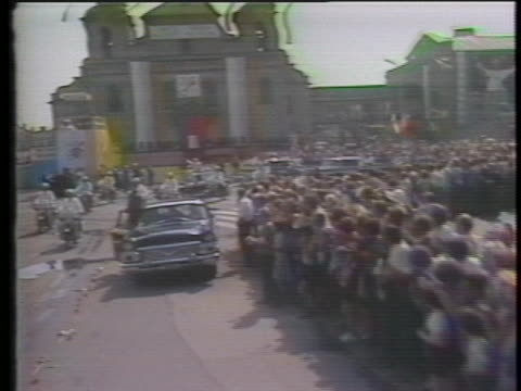 pope john paul ii in a car with an entourage in the vatican. - 1970 1979 stock videos & royalty-free footage